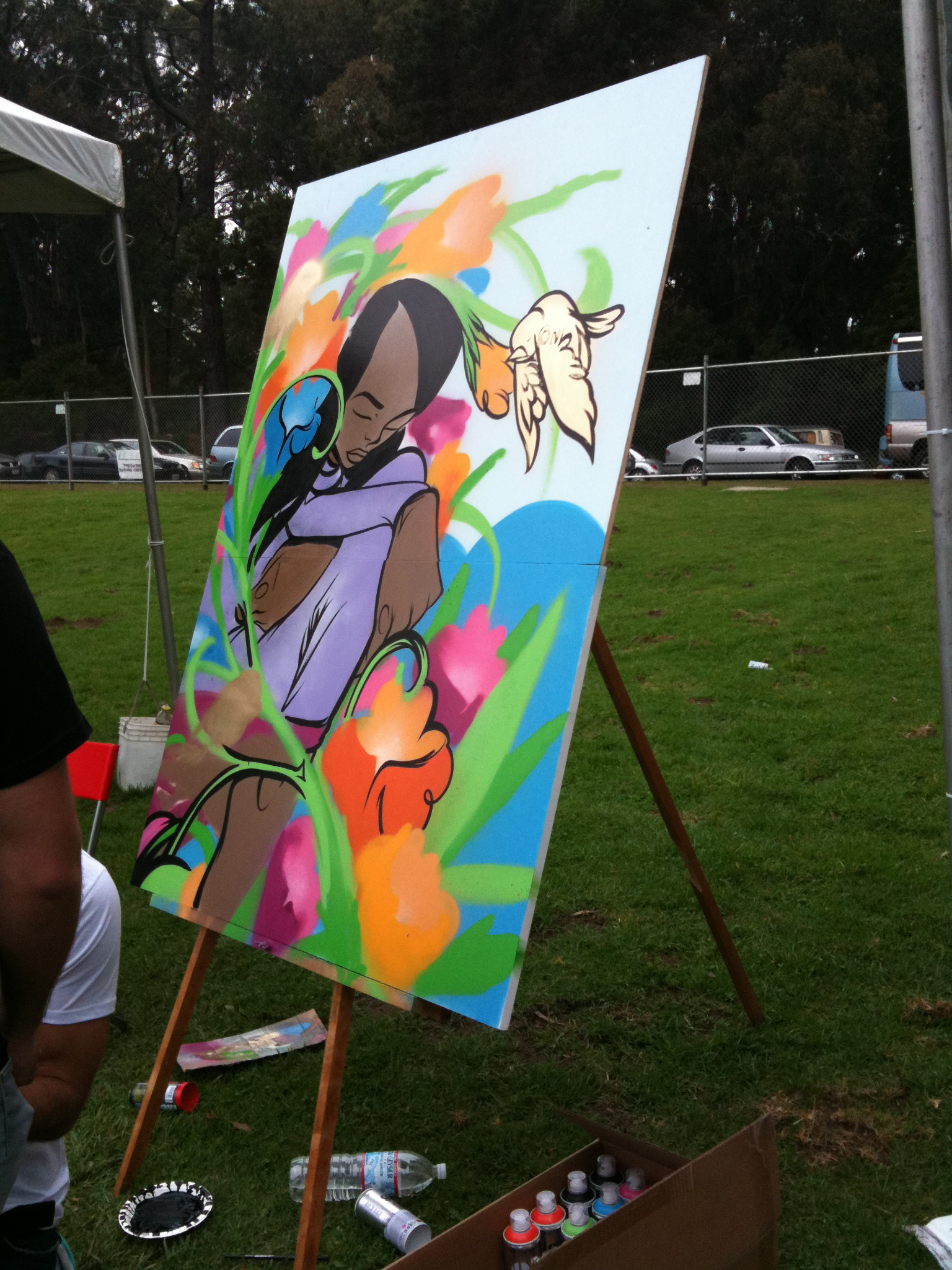 img 0256 Sam Flores, recap: live painting in Golden Gate Park upper playground Sam Flores power to the peaceful paint live painting graffiti fifty24sf gallery art