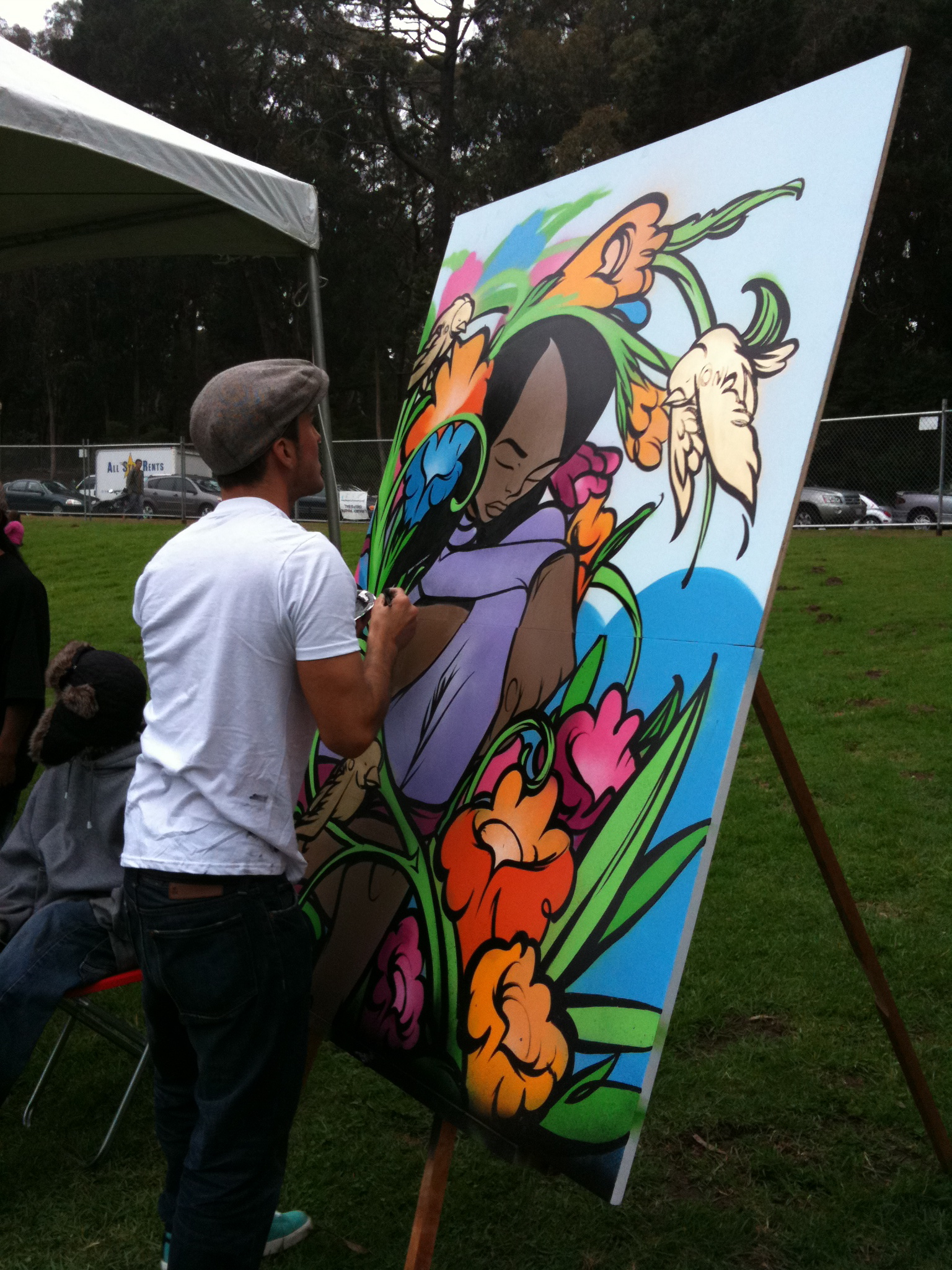 img 0260 Sam Flores, recap: live painting in Golden Gate Park upper playground Sam Flores power to the peaceful paint live painting graffiti fifty24sf gallery art